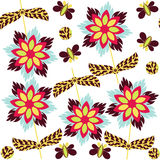 Abstract floral seamless pattern and seamless pattern in swatch Stock Images