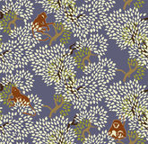 Abstract floral seamless pattern. Trees and monkeys. Exotic fore Stock Photo