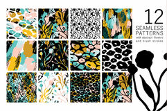 Abstract floral seamless pattern with trendy hand drawn textures. stock illustration