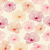 Abstract floral seamless pattern. Vector abstract floral seamless pattern. Red, orange and pink flowers with outline hand drawn on light background. Design Royalty Free Stock Photos