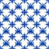 Abstract floral seamless trellis pattern, blue white gzhel fishnet Stock Images
