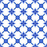 Abstract floral seamless trellis pattern, blue white gzhel Royalty Free Stock Photo