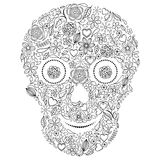 Abstract floral skull on white background. royalty free illustration