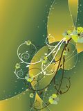 Abstract floral swirl glitter green. Brown background (vector Royalty Free Stock Photo