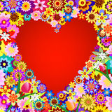 Abstract floral valentine frame. With red heart stock illustration