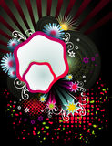 Abstract floral vector. Composition illustration over a black background Stock Photos
