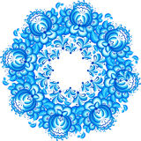 Abstract floral vector circle in gzhel style Royalty Free Stock Image