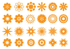 Abstract Floral Vector Design in Orange Isolated on White Stock Photo