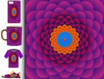 Abstract floral vector pattern design in purple, red, orange and blue stock illustration