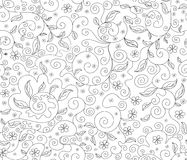 Abstract floral vector seamless pattern with flowers and leaves, decorative figured lines Stock Images