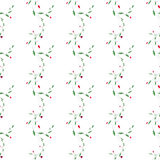 Abstract floral vector seamless pattern with fragility curl branch, leaves and hearts. Stock Images