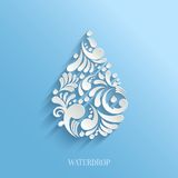 Abstract Floral Water Drop on Blue Background. Royalty Free Stock Photography