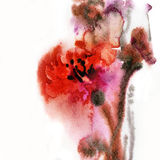 Abstract floral watercolor stock illustration