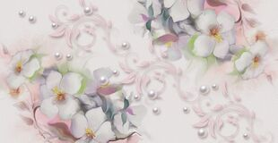 Abstract floral watercolor painting, Blossoming apple-tree branches, delicate flower design