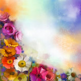 Abstract Floral Watercolor Painting. Hand Paint White, Yellow, Pink And Red Color Of Daisy- Gerbera And Rose Flowers Stock Image