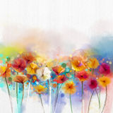 Abstract floral watercolor painting. Hand paint White, Yellow, Pink and Red color of daisy- gerbera flowers. In soft color on blue- green color background Stock Photo