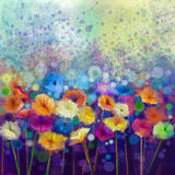 Abstract floral watercolor painting. Hand paint White, Yellow, Pink and Red color of daisy- gerbera flowers. In soft color on blue- green color background stock illustration