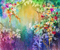 Abstract floral watercolor painting. Hand painted White, Yellow and Red flowers in soft color. Blue, green, purple color background. Ivy flowers in tree park Royalty Free Stock Photo