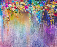 Abstract floral watercolor painting. Hand painted White, Yellow and Red flowers in soft color. Blue, green, purple color background. Ivy flowers in tree park Stock Photo
