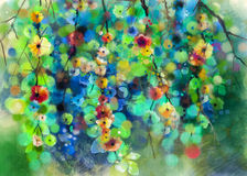 Abstract floral watercolor painting. Hand painted White -Yellow and Red flowers and soft green leaves color with bokeh. Soft color paintings Spring flower Royalty Free Stock Image
