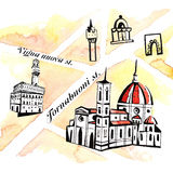 Abstract Florence map with enlarged sightseeings. Watercolor and ink illustration Stock Photo