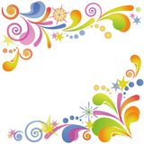 Abstract flourish colorful background. Abstract colorful background with symbolical flourish patterns and figures on white. Vector eps10, contains transparencies Royalty Free Stock Photography