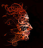 Abstract flourish portrait Stock Images