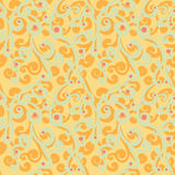 Abstract flourish seamless pattern. Gorgeous repeating background with orange and grayish green curls and red dots. Vector Royalty Free Stock Photos