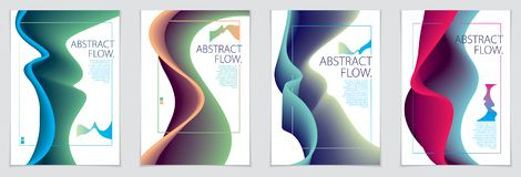 Abstract flow fluid shape vector backgrounds set. A4 print forma Stock Images