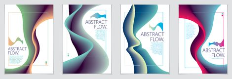 Abstract flow fluid shape vector backgrounds set. A4 print format. Brochure, flyer, cover. Abstract flow fluid shape vector backgrounds set. A4 print format stock illustration