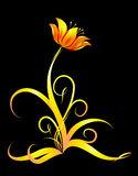 Abstract flower. With gold leafs Stock Photography