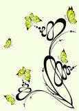 Abstract flower. Beautiful abstract flower with graceful butterflies Royalty Free Illustration