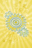 Abstract Flower Background. Yellow abstract flower background with swirls Stock Photo