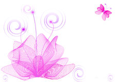 Abstract flower background. Flower background with butterfly,  illustration Royalty Free Stock Photography