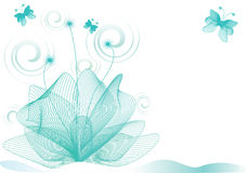 Abstract flower background. Flower background with butterfly, element for design,  illustration Royalty Free Stock Photo
