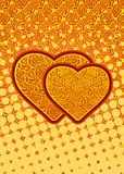 Abstract flower background. Burning roses hearts. Two hearts. Passionate love. Vector illustration Royalty Free Stock Image