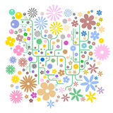 Abstract Flower Background Vector. Digital flower decoration for wallpaper, book cover, or any other printing material Royalty Free Stock Image