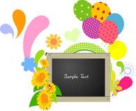 Abstract flower balloon blackboard Stock Image