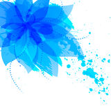 Abstract flower with blue blots Royalty Free Stock Image