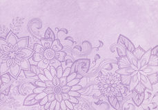Abstract flower border design with vintage purple watercolor paint texture Royalty Free Stock Photo