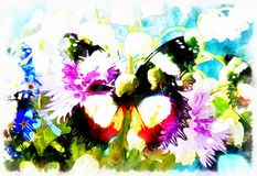 Abstract Flower  with butterfly, computer collage painting. Stock Photos