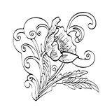 Abstract flower cartoon, vector black and white contour hand-drawn, outline monochrome illustration, coloring book. Sketch. Bud, petals, stem, leaves and curls Stock Photos