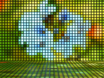 Abstract Flower on colored Background made out of Light Cubes Stock Photos