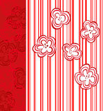 Abstract flower design with red stripes Stock Images