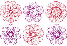 Abstract flower designs. Set of abstract flower designs Stock Image