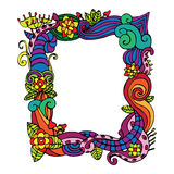 Abstract flower doodle frame. Color Royalty Free Stock Photo