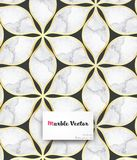 Abstract flower or flora with golden edges and marble textures on flower. Clean design for fabric wallpaper painted. Stock Photo