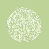 Abstract flower foliage round ornament. Vector. Illustration Stock Photos