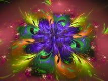 Abstract flower fractal digital beautiful effect computer curve. Abstract flower fractal digital beautiful effect scientific computer Stock Illustration