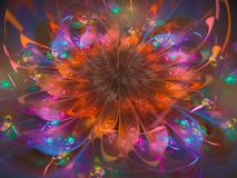 Abstract flower fractal digital beautiful effect curve. Abstract flower fractal digital beautiful effect scientific royalty free illustration
